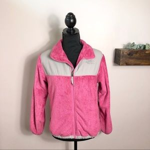 North Face Fuzzy Pink & Grey Zip Up Jacket